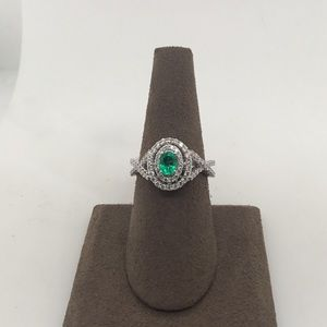 Jewelry - 14K White Gold Emerald Ring with Round Diamonds
